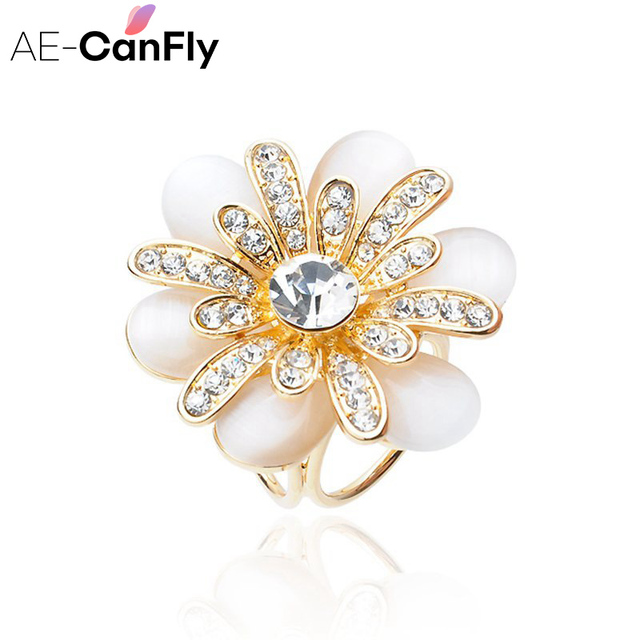AE-CANFLY Fashion Women Brooches Rhinestone Flower Gold Color Pearl Scarf  Buckle Ring Clips Jewelry 2B1010 3a0819e1fc14