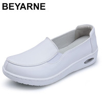 BEYARNE Four Seasons New Woman Pure White Nurse Shoes Women Platform Soft Comfortable Air Cushion Casual