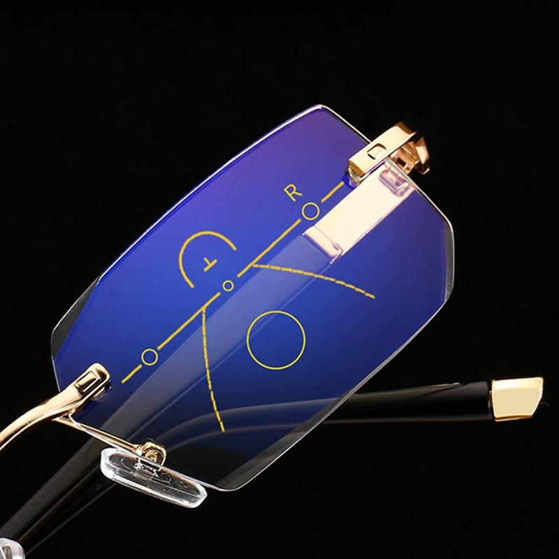 SOOLALA Rimless Progressive Glasses Multifocal Reading Eyeglasses Anti Blue Light Glasses Diamond Cutting Presbyopic Spectacles