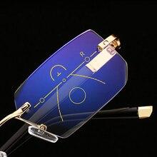 SOOLALA Rimless Progressive Glasses Multifocal Reading Eyeglasses Anti Blue Light Diamond Cutting Presbyopic Spectacles