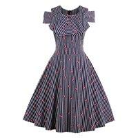 Young17 donne pin up d'epoca vestito a strisce increspato abiti carini off spalla estate femminile a party line labbro rosso annata abiti