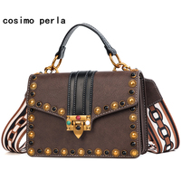 Vintage Trendy Flap Square Bags for Women Leather Handbags and Purses Lock Wide Shoulder Strap Colorful Rivet Satchels Bag 2019