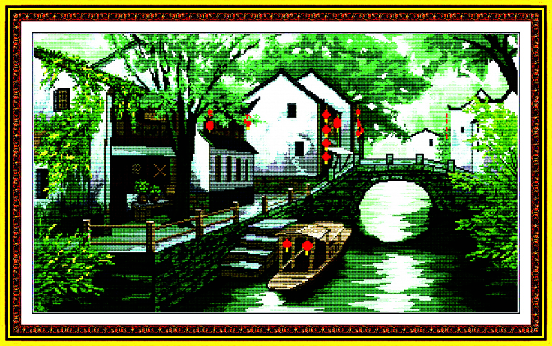 Yangtze River Cross Stitch Kits 11CT Printed 14CT Cross Stitch Set DIY Chinese Cross-stitch Counted Embroidery Needlework