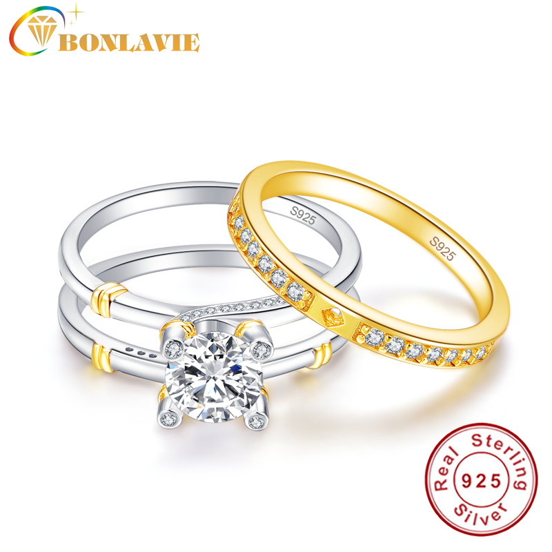 Bonlavie Wedding Band Rings Set Solid 925 Sterling Silver 2.6ct White Topaz Engagement Ring With 18k Gold Plated Tail Rings Profit Small Fine Jewelry