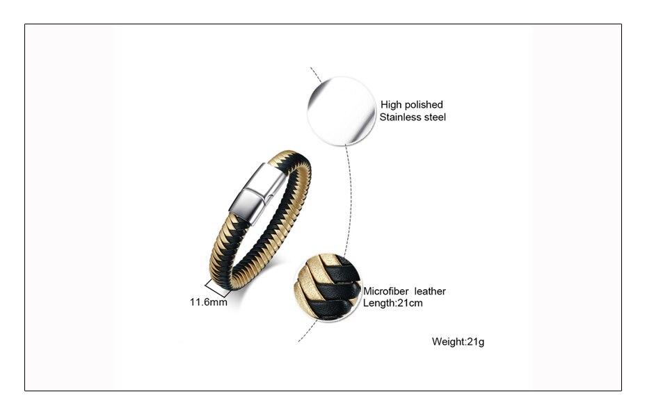Meaeguet Men's Black Handmade Braided Microfiber Leather Bracelet Stainless Steel Jewelry Charm Bracelet & Bangle (5)