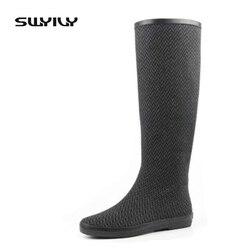 Pliable léger facile à prendre 2017 femmes bottes de pluie, bottes en caoutchouc grande taille 41 42 imperméable chaussures de pluie femme