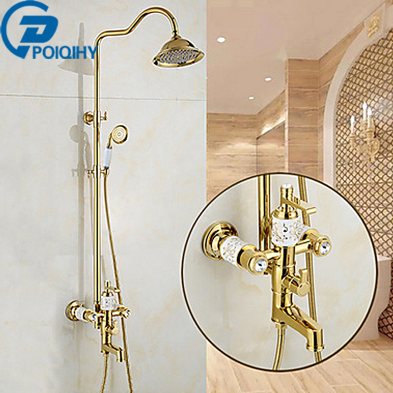Luxury Golden Brass Bathtub and Shower Set Mixer Faucet 8 Rainfall Head Wall Mounted 3-ways Sprout