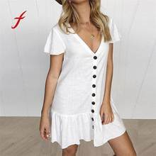2018 New Fashion Dress Women's V-Neck Flare Sleeve Dress Button Sundress Maxi Boho Casual Mini Shop Owner Recommended Dress(China)