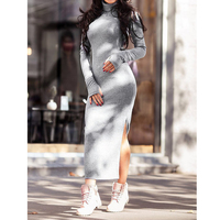 Autumn Winter Spilt Knitted Dress Female Turtleneck Sweater Dresses Long Pullovers Feminine Bodycon Vestidos WS4709X