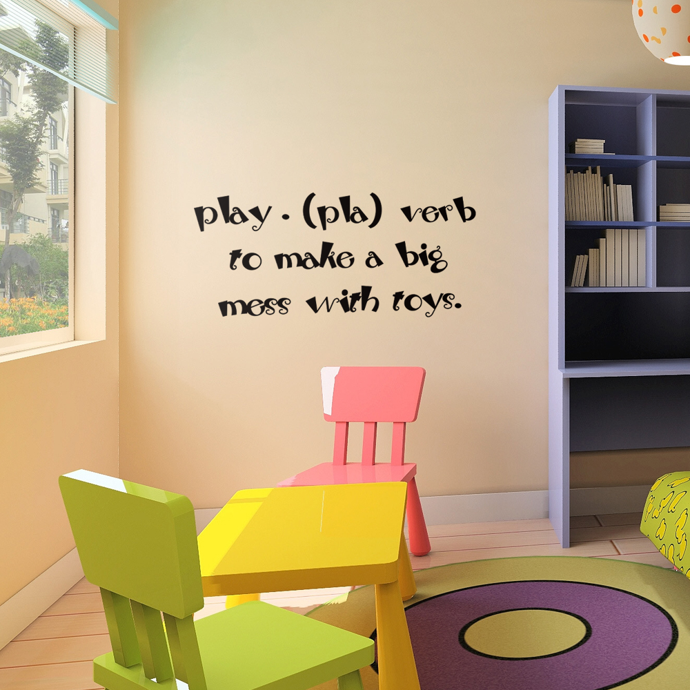 Kids wall art children playroom wall decals play pla verb to kids wall art children playroom wall decals play pla verb to make a big mess with toys baby nusury quote decor 22 x 10 xs in wall stickers from home amipublicfo Images