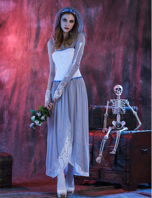 MOONIGHT Ghost Bride Dress Sexy Gothic Manor Zombie Wedding Corpse Costume Adult Costume Halloween 2