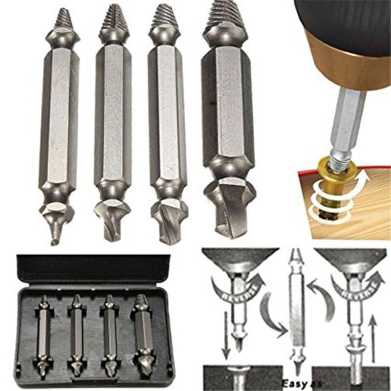 Tool 4pcs Screw Extractor Drill Bits Guide Set Broken Damaged Bolt Remover Screw Tools