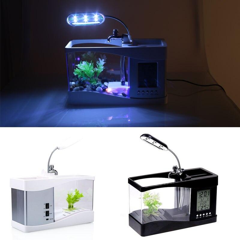 Petit Aquarium Mini Aquarium Aquarium Aquarium bureau lumière LED réveil Durable poisson rouge bol lampe multifonction - 6