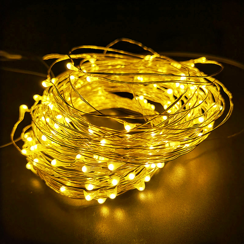 10M 5M 2M LED String Lights Silver Wire Fairy Light Christmas Wedding Party USB Led Strip Lamp Decoration Powered By Battery