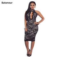 Batoneur 2017 Vestidos Sexy Sleeveless bodycon dress Black Pattern Floral Bandage Dresses