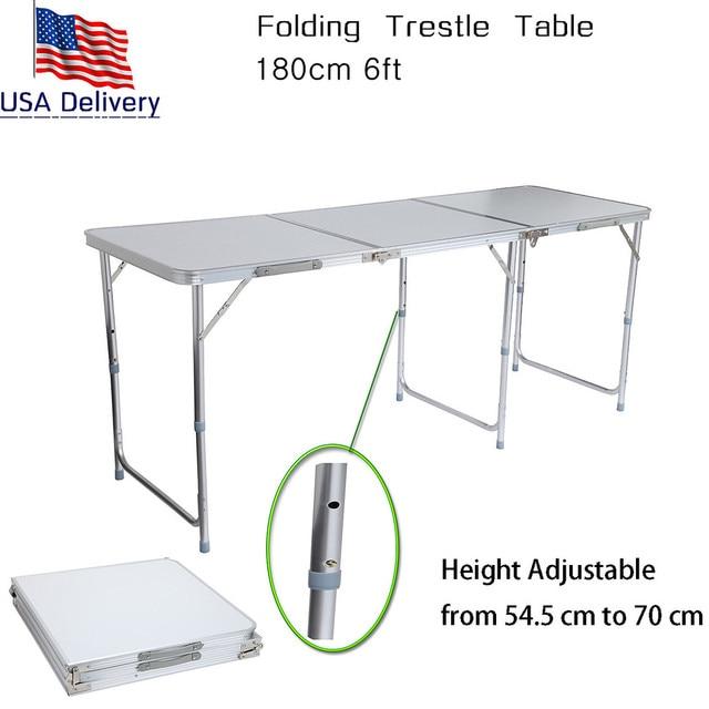USA ZDZ 180 Portable Adjustable 180cm 6ft Folding Trestle Table +Carrying  Handle Aluminum Outdoor