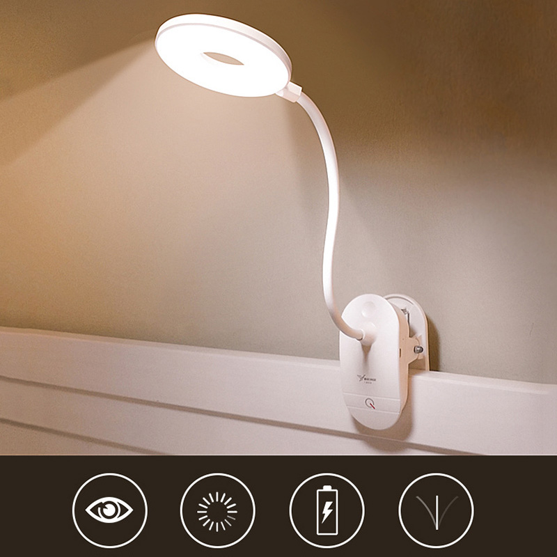 1pcs 18650 Rechargeable USB Led Table Lamps LED Touch On / off Switch 3 Mode Clip Desk Lamp 4000k Reading Eye Protection Dimmer flexible usb led rechargeable night lights clip on bed table desk study reading learning lamp eye protection clip lamp lighting