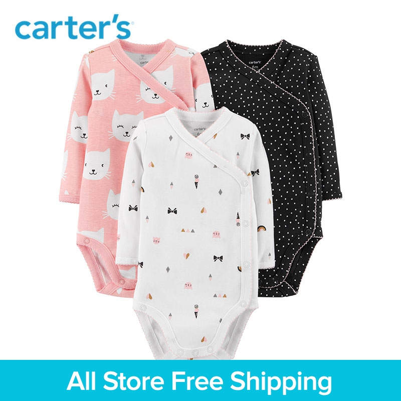 3Pcs Side-Snap Cute Cat Print Polka Dot Print Baby Bodysuits Long Sleeve Body For Newborns Carters Child Girl Clothes 126H437 splatter paint dot print long sleeve shirt