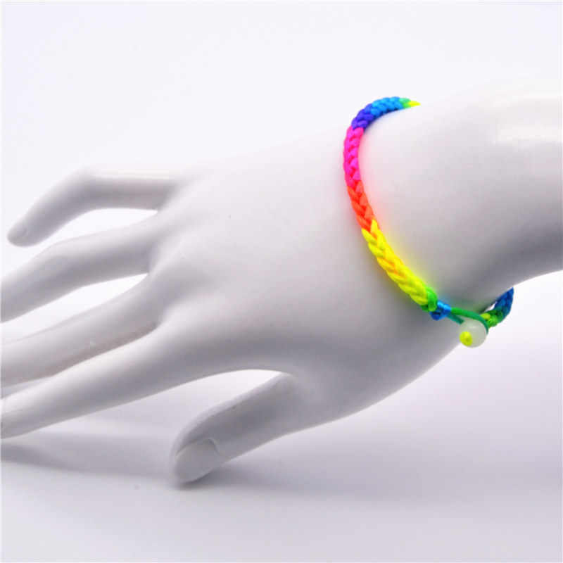 Colorful Loom Bands Fashion Red Thread String Bracelet Lucky Rainbow Handmade Rope Bracelet for Women Men Jewelry Lover Couple