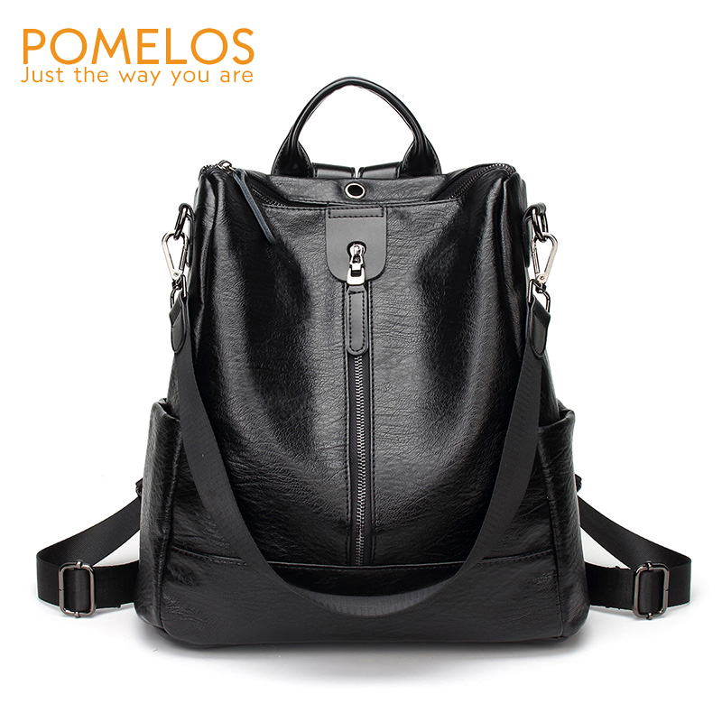 POMELOS Soft Leather Women Backpack High Quality Anti Theft Backpacks Female Casual Back Pack Bag Girls Designer Travel Backpack pomelos backpack female designer new women leather backpack anti theft high quality soft back pack casual backpacks school bags