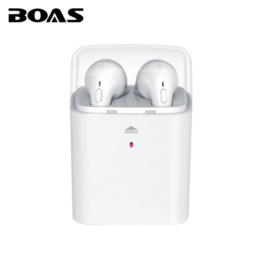 Prix pour BOAS TWS Jumeaux Vrai Sans Fil Bluetooth Écouteurs stéréo Casque Casque boîte de Banque de puissance avec MIC pour Iphone 6 7 Android Samsung