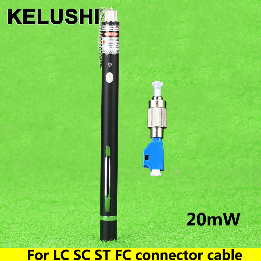 KELUSHI New FTTH Laser Optico Pen Style Fiber Optic Laser Tester LC/FC/SC/ST Adapter Fiber Optica Cable20MW CATV