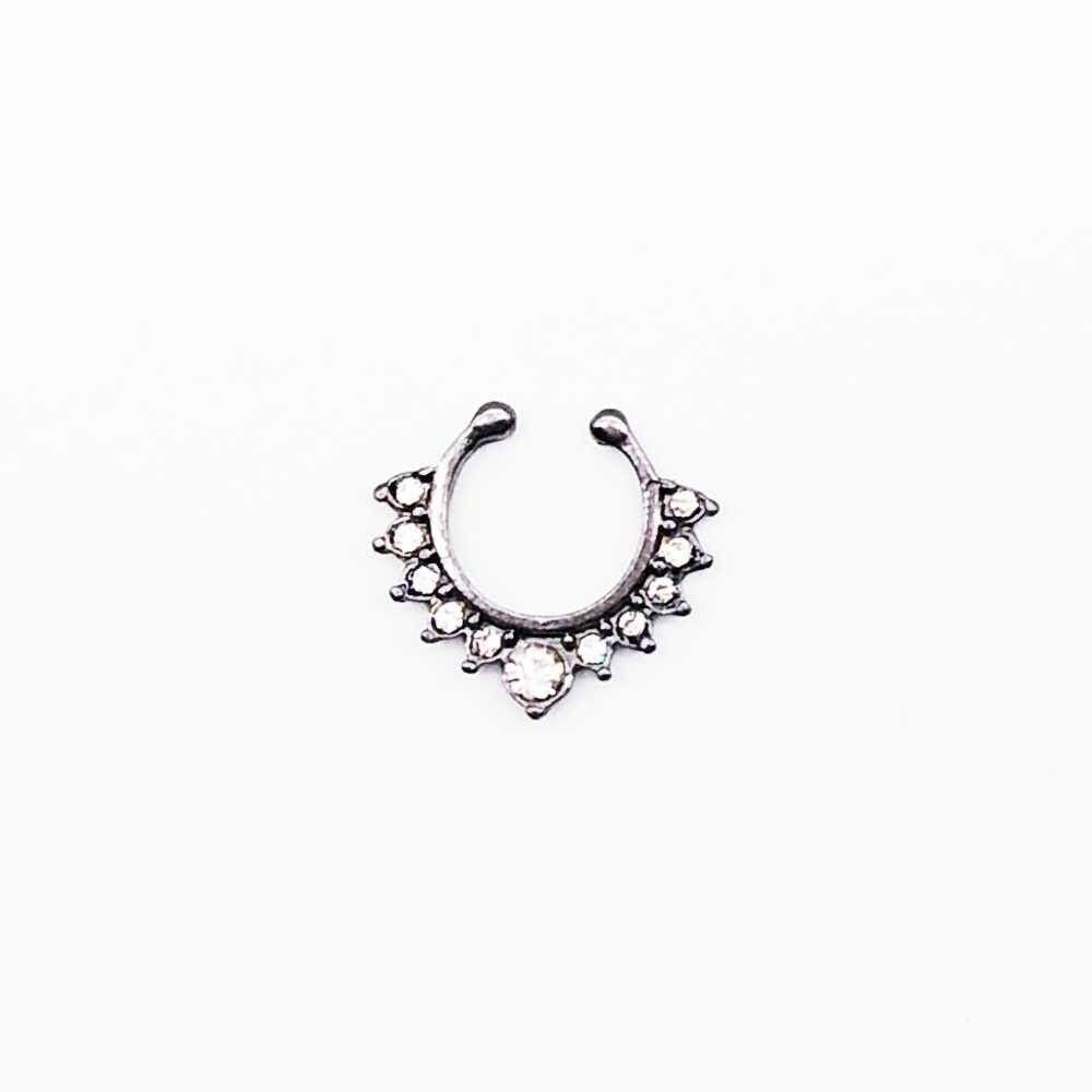 Хрустальное кольцо в нос Имитация черного цвета круглая перегородка колечки для пирсинга Клипса-обманка не хула-Хуп для женщин оптовая продажа ювелирных изделий