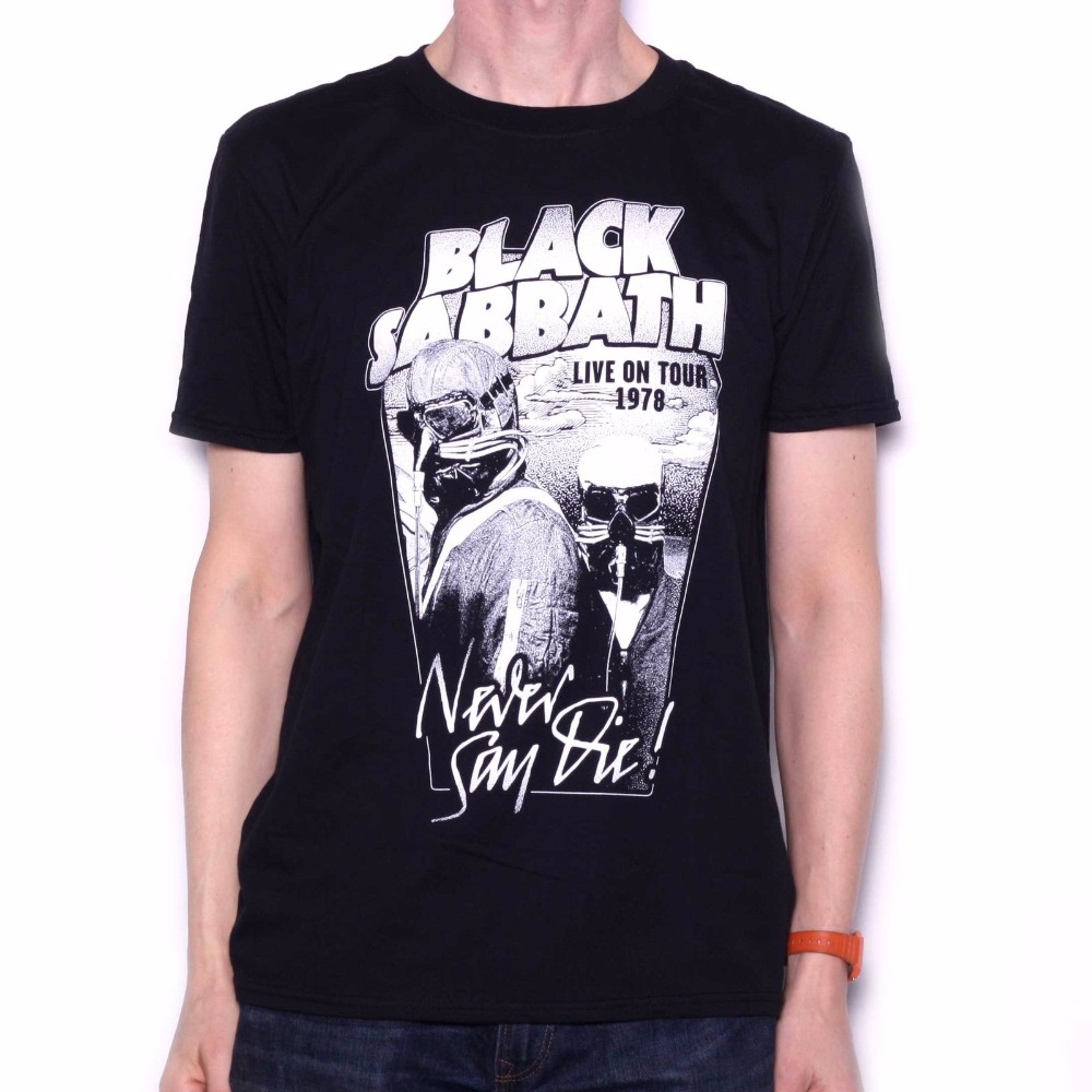 Custom Tees MenS Black Sabbath T Shirt - Never Say Die Black & White 78 Usa Tour Design Official Top O-Neck Short-Sleeve T Shi