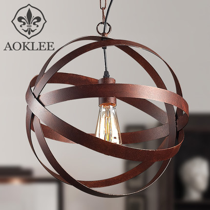 American Countryside Retro Loft Style Circle Wrought Iron Pendant Light Restaurant Coffee Shop Decoration Lamp Free Shipping