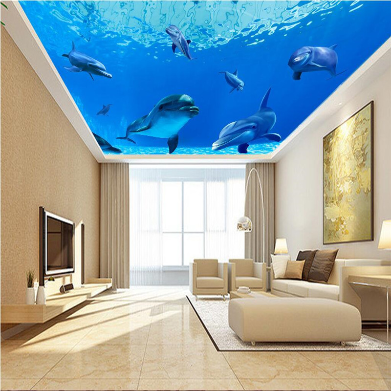 Us 84 44 Offbeibehang Photo Wallpaper 3d Ocean Sea Water Dolphin Ceiling Mount Sofa Backdrop Mural 3d Wall Paper Papel De Parede Wall Paper In