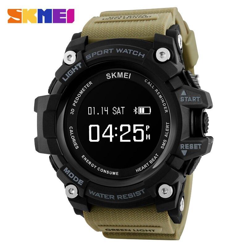 SKMEI Smart Watch Men Pedometer Calorie Heart Rate Sport Watches Bluetooth Message Reminder Sleep Tracker Wristwatch 1188 skmei 1058 heart rate monitor pedometer sport watches calorie counter