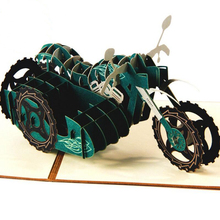 Creative 3D Handmade Craft Three Wheeled Motorcycle Birthday Greeting Card Paper-cut Carved Gift 3pcs/lot