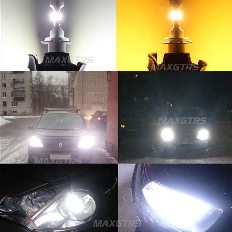2x Dual Color Car Leds H4 H7 H8 H11 9005 9006 Bulb 3000k Fog Lights 6500k Auto Led Light Car Driving 40w 8000lm HeadLight Bulbs
