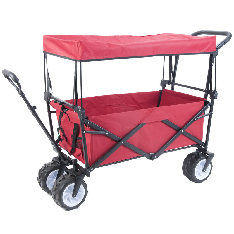 Outdoor Beach Trailer with Widen 10cm Rubber Wheel, Foldable Kids Wagon, Portable Twins Cart with Roof, Outdoor Beach Carriage outdoor beach trailer with widen 10cm rubber wheel foldable kids wagon portable twins cart with roof outdoor beach carriage
