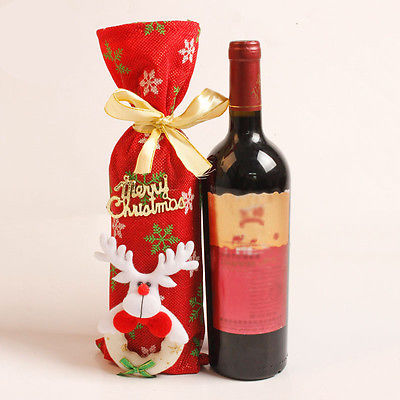 Bags Decors Cover Decoration Party Santa Red Wine Bottle Holder Christmas Bag Home Gift Holders In Stockings From Garden On