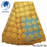 BEAUTIFICAL Gold Lace African Cord Lace Dress for Vocation 2019 Guipure Lace Fabric Embroidery ML2G251