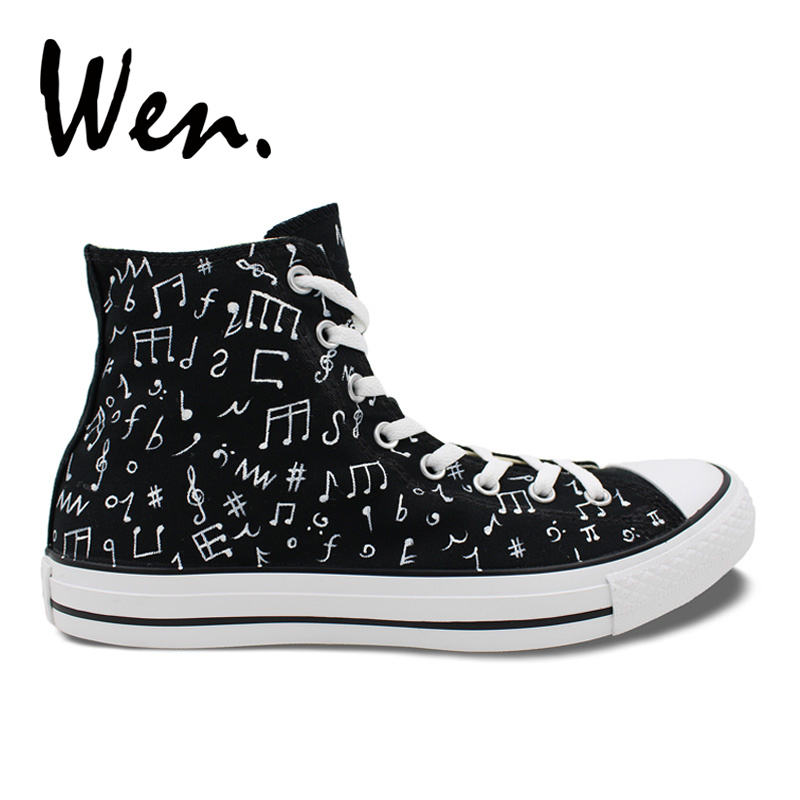 Wen Hot Original Design Custom Hand Painted Shoes Music Notes Black High Top Canvas Sneakers Men Women's Birthday Gifts boys girls converse all star hand painted shoes women men shoes pokemon go charizard design high top canvas sneakers