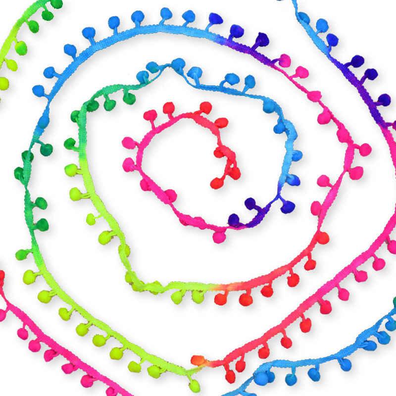 Seção manchada 10 jardas/lote colorido pom pom laço guarnição bola de pelúcia franja fita diy costura artesanal trançado acessório jk151