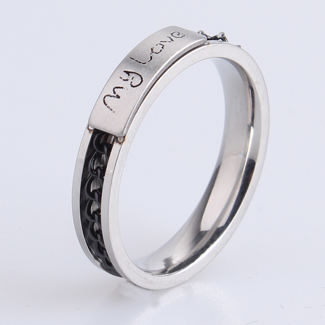 Free Shipping 4mm My Love Black Chain 316l Stainless Steel Wedding Rings For Women Whole