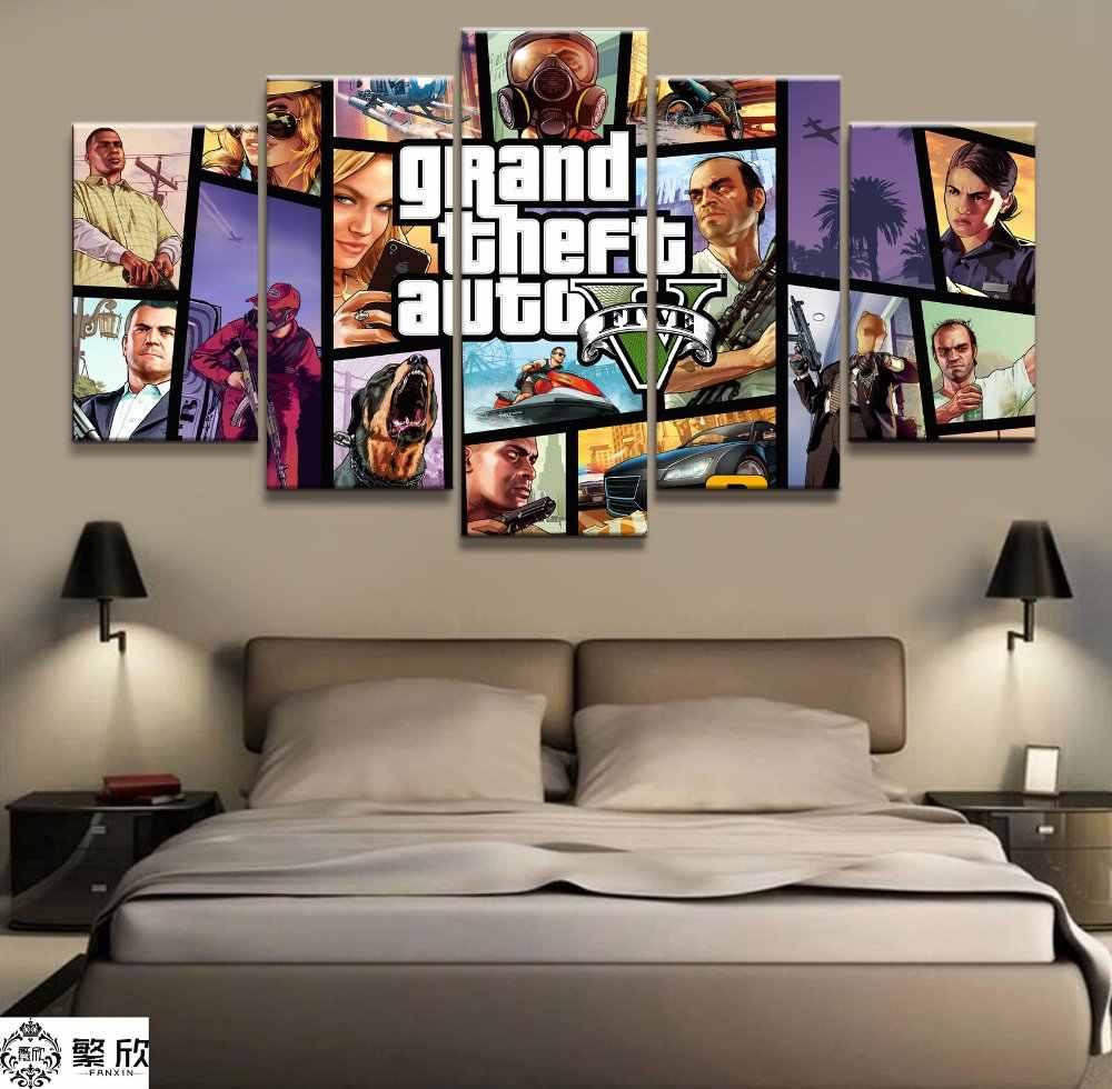 Rumah Dekorasi Poster Gambar HD Cetakan Kanvas 5 Buah Modular GTA 5 Permainan Hidup Kamar Seni Lukisan Dekoratif Bingkai Poster