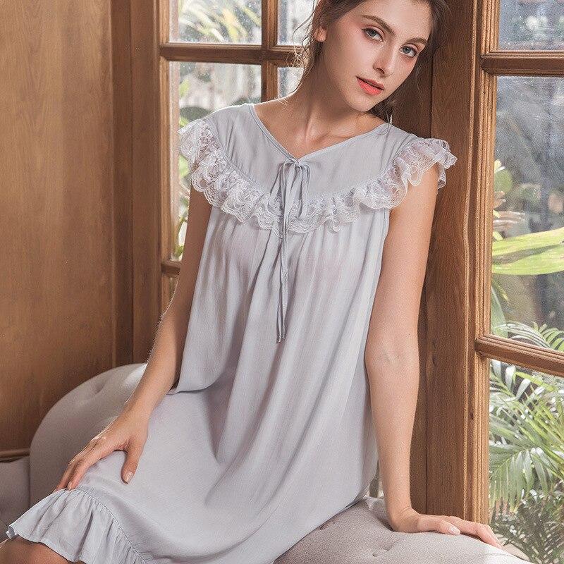 Summer   Nightgown   Lace Princess Cotton   Sleepshirt   Women Short Sleepwear Nightwear Female Sleep Nightdress Nighties Home Wear