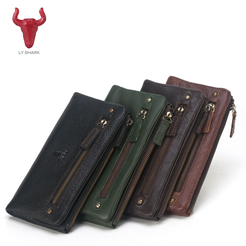 LY.SHARK Genuine Leather Men Wallet Women Purse zipper Coin Wallet Famous Brand design Female Card Holder Phone Money Bag Clutch p kuone business men purse famous luxury brand coin credit card holder male travel long wallet passport cover leather money bag