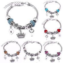 Charm Bangle Bracelet Jewelry Snake-Chain Crown Lobster Gift Fashion-Accessories Romantic