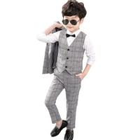 2019 Suit for Boy Plaid Suit 3 Pieces Boy Child Wedding Checks Children Suits Formal Dress Suit Kids 3pcs(Blazers+Vest+Pants)