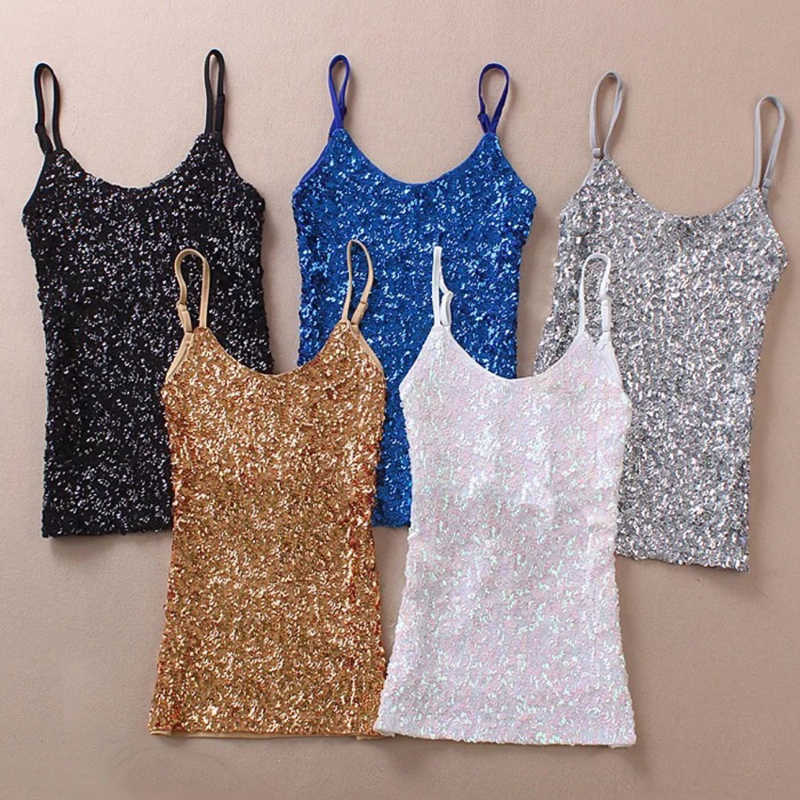 Sexy Vrouwen Dames Lovertjes Bling Shiny Tank Tops Mouwloze T-shirts Blouse Vest Bottom Sling Top Multicolor