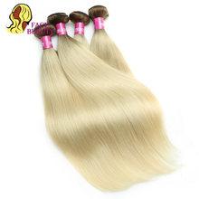 Facebeauty-mèches naturelles brésiliennes Remy lisses, couleur ombré, blond T8/613, 8 - 30 pouces, extensions de cheveux, 1/3/4 lots