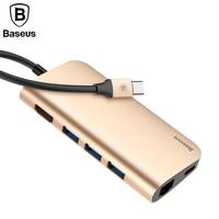 Baseus 8in1 USB Type C 3.1 HUB voor Type C naar 3 USB 3.0/4 K HDMI/RJ45 Ethernet/Micro SD TF Kaartlezer/USB Type C OTG HUB