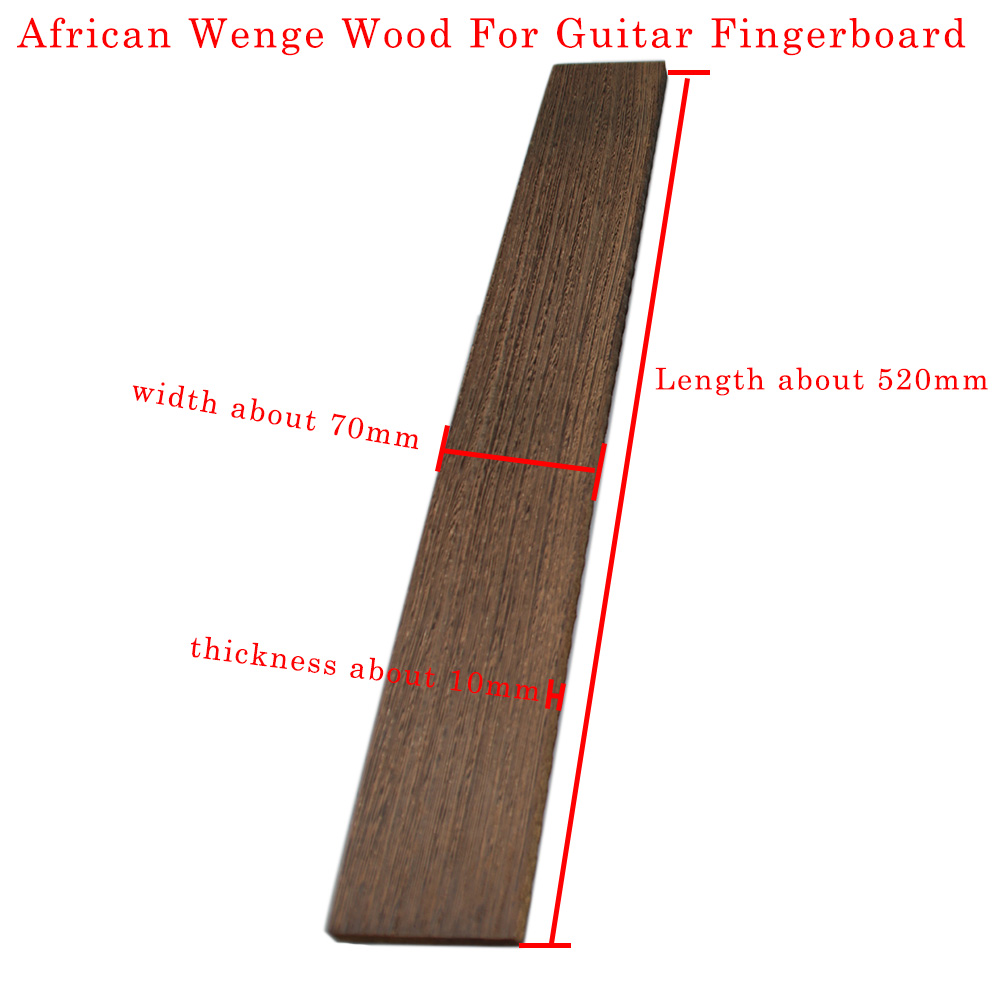 """אפריקאי וונגה עץ גיטרה Fretboard חומר DIY גיטרה חיף גיטרה ביצוע חומרי אביזרי 520x70x10 מ""""מ"""