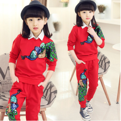 Retail Kids Girls leisure suit children Autumn big virgin girl child spell color long-sleeved T-shirt + trousers 3-12 years 2