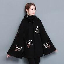 New autumn winter Women's Vintage Warm Woolen Hoodie Cloak Coat Flower Embroidered Drop-Shoulder Sleeve Wool Cape Outerwear недорого